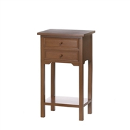 Natural Brown Wood 2-Drawer Side Table