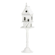 2-Story White Wood Pedestal Birdhouse