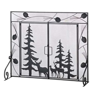 Pine Tree Moose-Deer Fireplace Screen