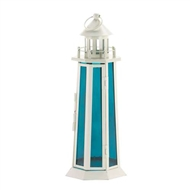 Lighthouse Blue Glass Candle Lantern