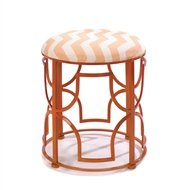 Chic Chevron Cushioned Metal Stool