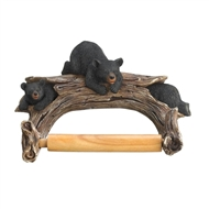 Playing Black Bears on Log Toilet Paper Holder