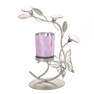 Purple Floral Butterfly Candle Holder