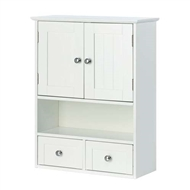 Nantucket White Wood Wall Cabinet