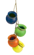 4PC Fiesta Mini Ceramic Cooking Pots Decor