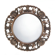 Heirloom Round Wood Wall Mirror