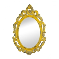 Vintage Hannah Yellow Oval Wall Mirror