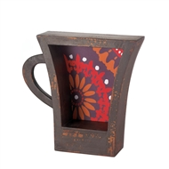 Dark Brown Wooden Coffee Cup Shelf