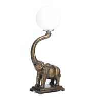 Trumpeting Elephant White Globe Table Lamp