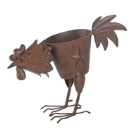 Pecking Rooster Lone Star Iron Planter