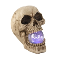 Grinning Skull With Light-up Crystal Ball