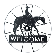 Cowboy Horse Wagon Wheel Welcome Sign Wall Decor