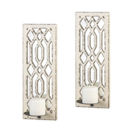 Ivory Mirror Geometric Wall Sconce Set