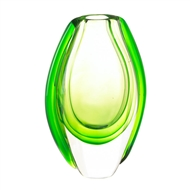 Vibrant Emerald Green Art Glass Vase