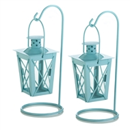 Baby Blue Hanging Railroad Candle Lanterns 1PR