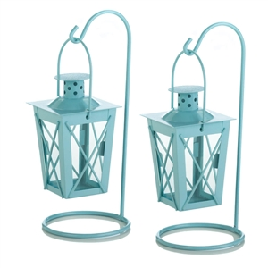 Baby Blue Metal Railroad Candle Lanterns w/Stands 1 pair