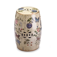 Butterfly Garden Ceramic Barrel Stool