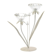 Crystal Flower Double Posy Candle Holder