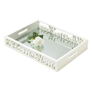 Welcome Home White Wood Mirror Tray
