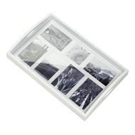 7-slot White Wood Photo Frame Tray