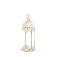Graceful Distressed Small White Candle Lantern
