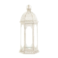 Graceful Distressed Large White Candle Lantern