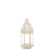 Sublime Distressed Small White Candle Lantern