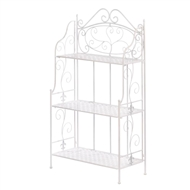 White Basket Weave Bakers Rack