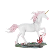 White Unicorn Crystal and Flower Figurine