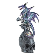 Mystical Jeweled Dragon and Skull Figurine