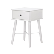 White Wood Modern Chic 1-Drawer Side Table