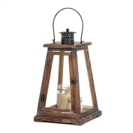 Ideal Large Brown Wood Candle Lantern