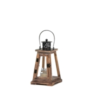 Ideal Small Brown Wood Candle Lantern