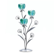 Triple Peacock Bloom Candle Holder Tree
