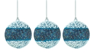 3-Piece True Blue Beaded Ball Ornament Set