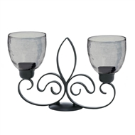 Fleur-De-Lis Duo Black Candle Stand Smoke Cups