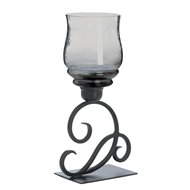 Cursive Votive Candle Stand Smoked Glass