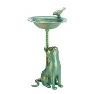 Cat Green Gold Aluminum Bird Bath