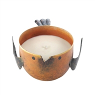 Peach & Grapefruit Candle In Orange Metal Birdie