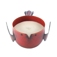 Red Apple Candle In Red Metal Birdie