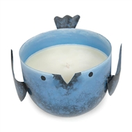 Coastal Water Candle In Blue Metal Birdie