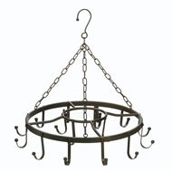 Multi-Hook Black Metal Round Pot Rack Holder