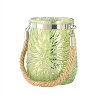 Green Flower Design Glass Jar Candleholder