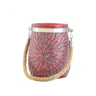 Red Flower Design Glass Jar Candleholder