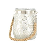 White Flower Design Glass Jar Candleholder