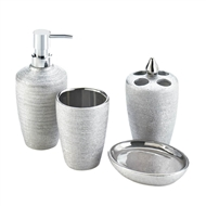 4-Pc Porcelain Silver Shimmer Bath Accessory Set