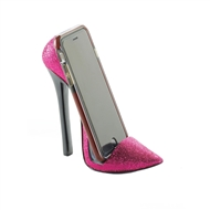 Sparkly Pink Pointed Toe High Heel Shoe Phone Holder