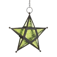 Green Glass Star Lantern Candle Holder