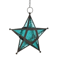 Blue Glass Star Lantern Candle Holder
