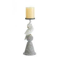 White Cockatoo Pillar Candle Holder